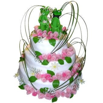 Třípatrový svatební dort s kudlankami - Svatební dorty Praha
