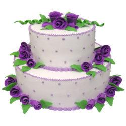 Krémový svatební dort s fialovými růžemi - Svatební dorty pro Vás
