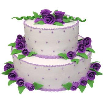 Krémový svatební dort s fialovými růžemi - Svatební dorty Praha