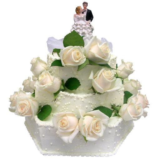Krémový svatební dort s živými květy - Svatební dorty Praha