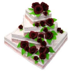 Krémový čtyřpatrový svatební dort - Svatební dorty pro Vás