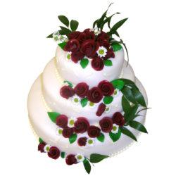 Svatební dort s Marcipánovými bordó růžemi - Svatební dorty pro Vás