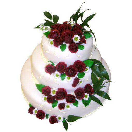 Svatební dort s Marcipánovými bordó růžemi - Svatební dorty pro Vás Praha