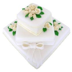 Svatební čtvercový dort s mašlí - Svatební dorty pro Vás