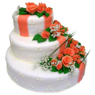 Svatební dort s marcipánovými růžemi - Svatební dorty pro Vás