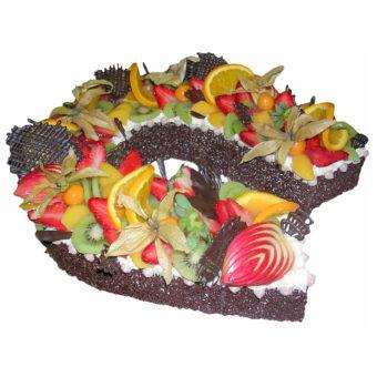 Čokoládová podkova sovocem - Ovocné dorty Praha
