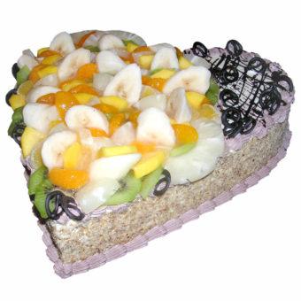 Oříškové srdce sovocem - Ovocné dorty Praha