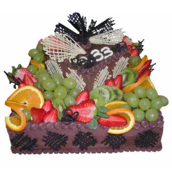 Patrový čtvercový sovocem - Ovocné dorty Praha