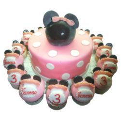 Dětský dort Minnie s mufinami - dětské dorty Praha