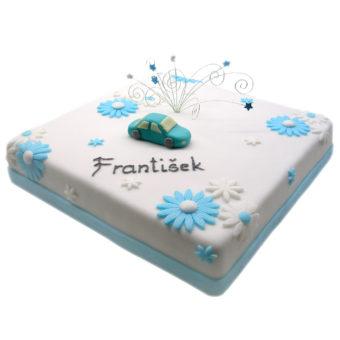 Dětský dort s modrým autem - dětské dorty Praha