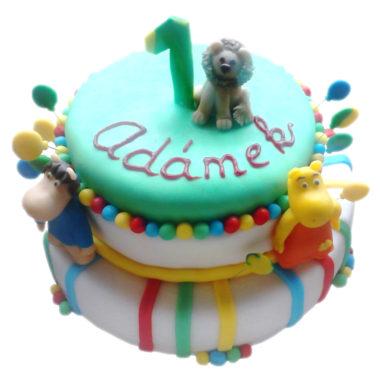 Dvoupatrový dětský dort se zvířátky - dětské dorty Praha