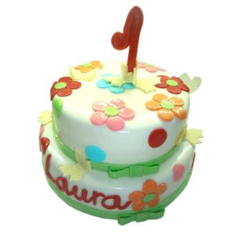 Dvoupatrový narozeninový dort s květinami - narozeninové dorty Praha