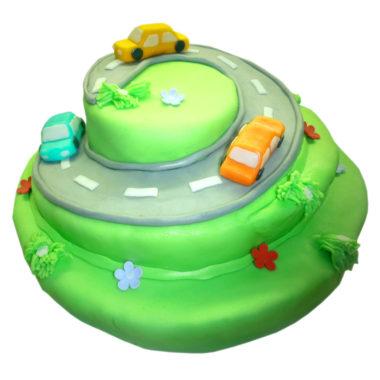Třípatrový dětský dort s autama