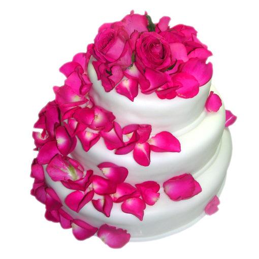Třípatrový svatební dort s růžemi