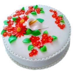 Jednopatrový svatební dort s květinami