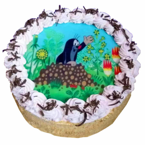 Dětský dort s fotografií Krtečka na jedlém papíře