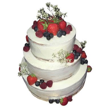 Patrový svatební dort zdobený čerstvým ovocem